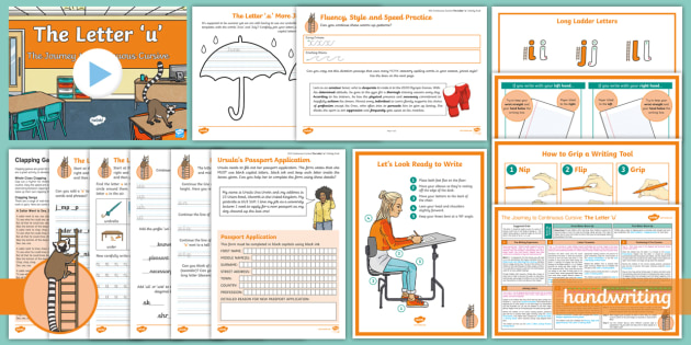 The Journey to Continuous Cursive: The Letter 'u' (Ladder Family Help Card 3) KS2 Activity Pack - Nelson handwriting, penpals, fluent, joined, legible, handwriting