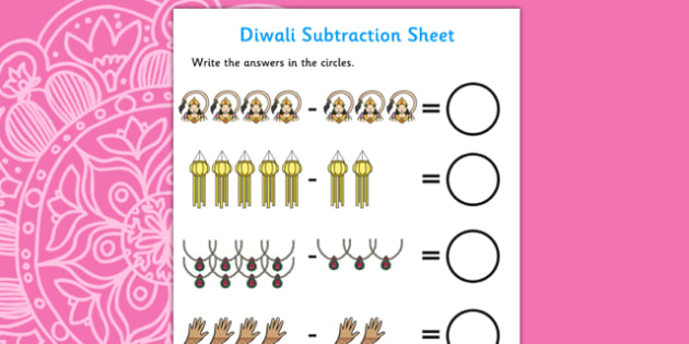 Diwali Subtraction Worksheet - diwali, subtraction, worksheet