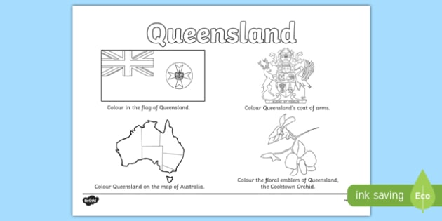 Queensland Colouring Sheet - australia, colouring, flag, coat of arms, floral emblem, map, Australia, Art, Geography, states, territories