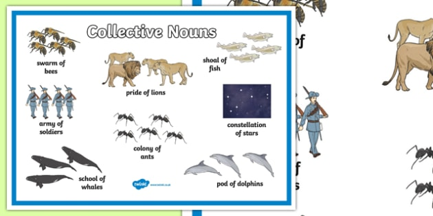 Collective Nouns Display Poster - collective nouns, nouns, types of nouns, collective nouns poster, collective nouns word mat, collective nouns mat, ks2