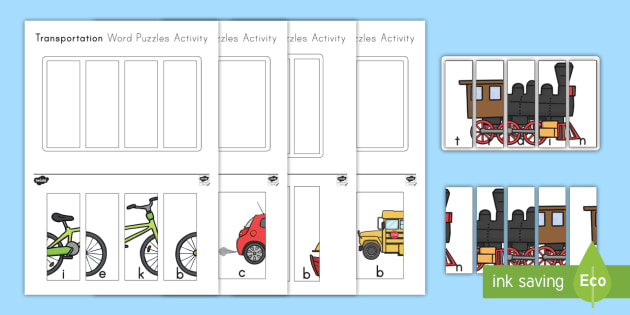 Transportation Word Puzzles Activity
