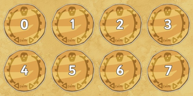 Numbers 0-50 on Pirate Coins - 0-50, foundation stage numeracy, Number recognition, Number flashcards, counting, number frieze, Display numbers, number posters