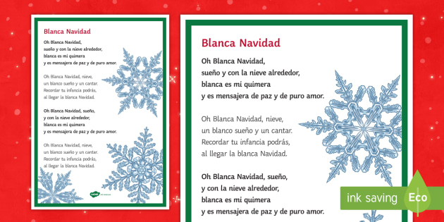 White Christmas Lyrics.White Christmas Carol Lyrics A4 Display Poster Spanish