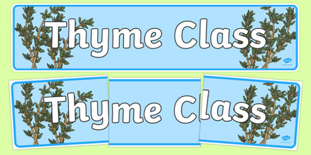 Thyme Class Display Banner -  herb, display posters, display, posters