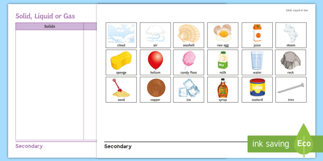 solid liquid or gas cut and stick activity sheet cut and