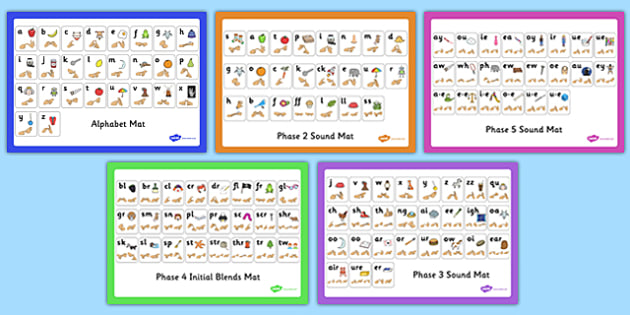 Alphabet and Phase 2-5 Sound Mats with British Sign Language Pack - phase