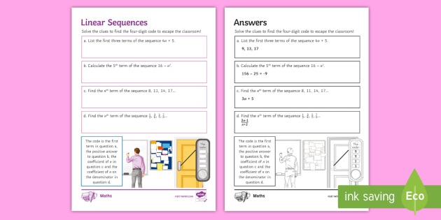 * NEW * Escape the Room: Linear Sequences Challenge Card