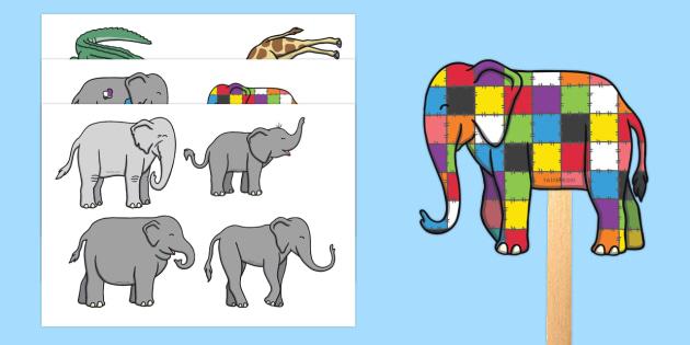 Stick Puppets to Support Teaching on Elmer - Elmer, Elmer the elephant, resources, Elmer story, patchwork elephant, PSHE, PSE, David McKee, colours, patterns, story, story book, story book resources, story sequencing, story resources, stick puppet