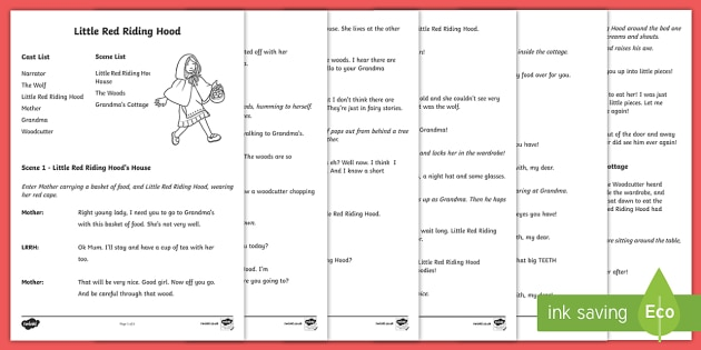 Little Red Riding Hood Play Script Teacher Made