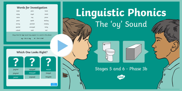 Northern Ireland Linguistic Phonics Stage 5 and 6 Phase 3b, 'oy' Sound PowerPoint