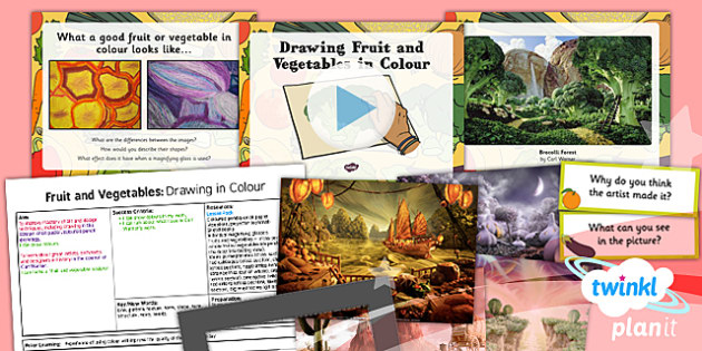 Art: Fruit and Vegetables: Drawing Fruit and Vegetables in Colour LKS2 Lesson Pack 3