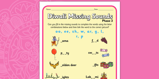 Diwali Missing Sounds Worksheet - hinduism, sound, literacy