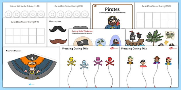Pirate Themed Scissor Skills Pack - pirate, themed, scissor skills, pack, scissor, skills, fine, motor