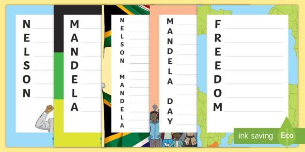 nelson mandela acrostic poem writing frames black history