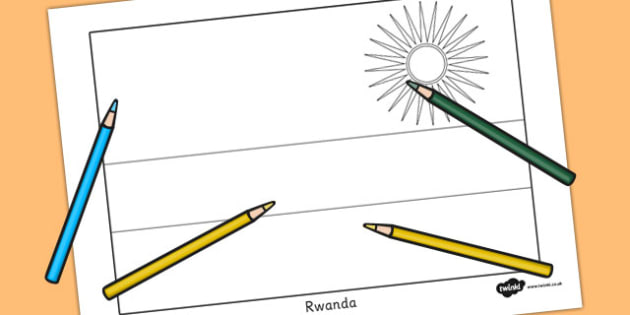 Rwanda Flag Colouring Sheet - countries, country, geography