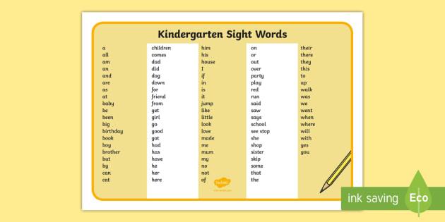 kindergarten sight words word mat