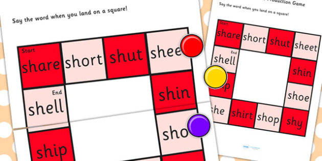 Initial 'sh' Production Game - sh, vowel, sounds, sound, game