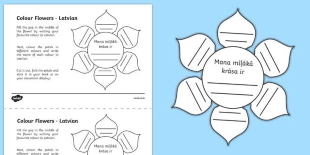 MFL Latvian Colour Flowers Activity Sheet, worksheet