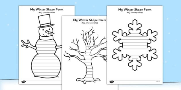 Winter Shape Poetry Polish Translation - polish, winter, shape, poetry, shape poetry, poem
