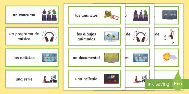 Tv Programmes Spanish Word Cards Teacher Made