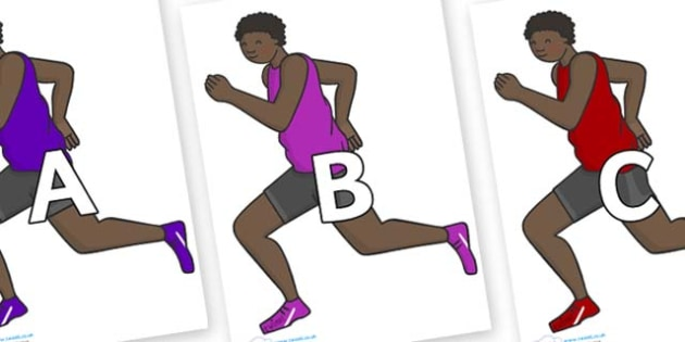 A-Z Alphabet on Runners - A-Z, A4, display, Alphabet frieze, Display letters, Letter posters, A-Z letters, Alphabet flashcards