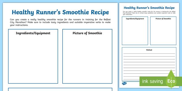 Marathon Smoothie Recipe Worksheet - Belfast, City, Healthy