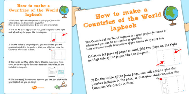 Countries of the World Lapbook Instructions - lapbooks instruction