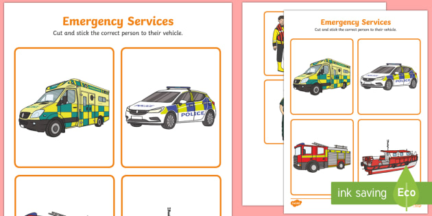 emergency services cut and stick activity fire police ambulance. Black Bedroom Furniture Sets. Home Design Ideas