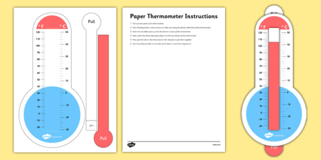 Fahrenheit and Celsius Paper Thermometer With Slider - fahrenheit, celsius, paper, thermometer, slider, activity
