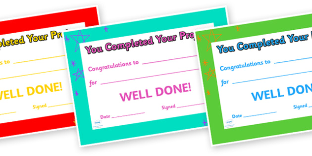 Congratulations on Completing Your Project Award Certificate - congratulations, awards, certificate, reward, behaviour management, class rewards, behaviour