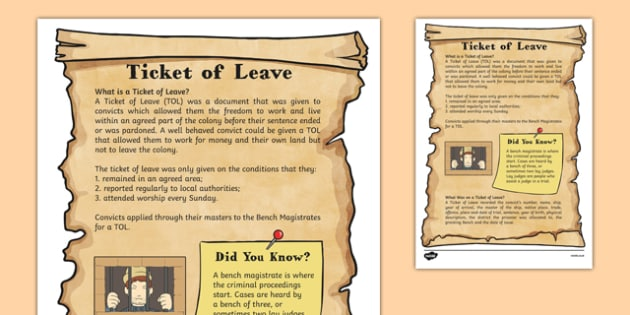 The First Fleet Ticket of Leave Information Sheet - australia, The First Fleet, ticket of leave, TOL, convicts, information, information sheet
