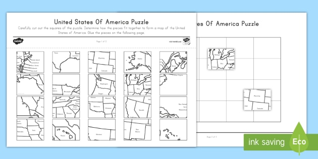 United States Map Printable Puzzle Activity - Us-map-printable-with-states