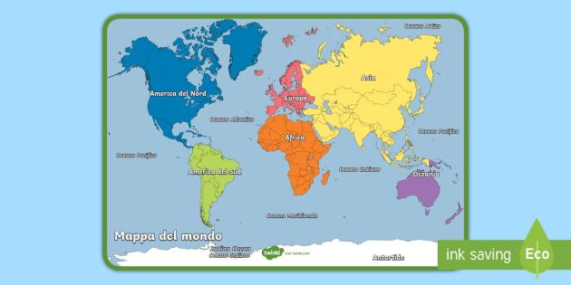 Mappa del mondo poster geografia mappa continenti nazioni - Mappa del mondo contorno ks2 ...