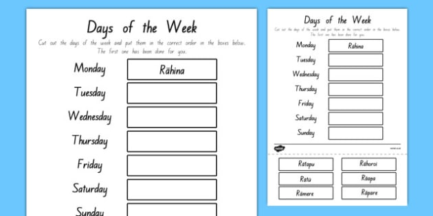 Days of the Week Cut and Stick Activity Sheet Te Reo Māori - Māori, days of the week, nz, new zealand, time, day, weeks, language, worksheet