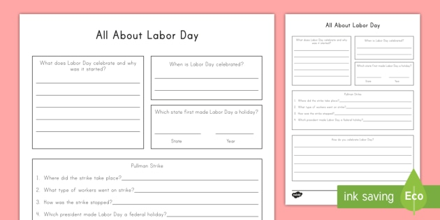 All About Labor Day Worksheet Worksheet Labor Day Federal