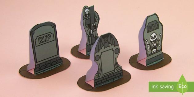 Simple 3D Halloween Gravestones Display Paper Craft