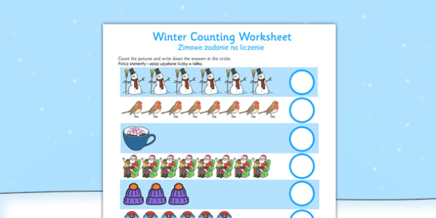 Counting Worksheets Winter Polish Translation - polish, counting, worksheets, winter, count