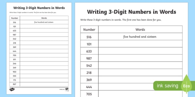 Place Value Writing 3-Digit Numbers in Words Worksheet ...