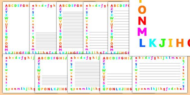 Alphabet Page Border - alphabet letters page borders, rainbow alphabet page borders, alphabet writing frames, rainbow alphabet page frames, a-z page border