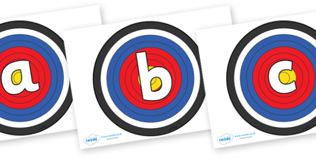 Phoneme Set on Archery Targets - Phoneme set, phonemes, phoneme, Letters and Sounds, DfES, display, Phase 1, Phase 2, Phase 3, Phase 5, Foundation, Literacy