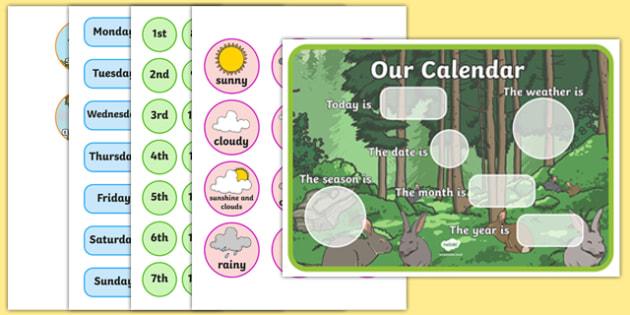 Woodland Rabbit Themed Display Calendar - woodland rabbit, display calendar, display, calendar