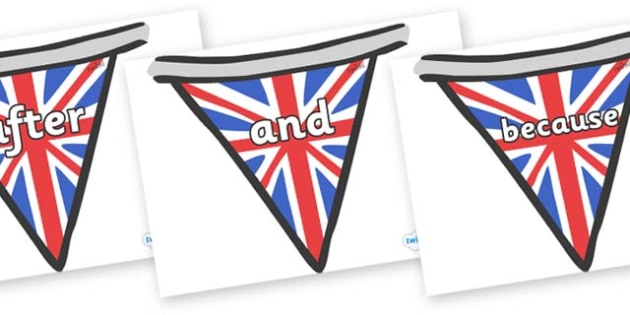 Connectives on Bunting (British) - Connectives, VCOP, connective resources, connectives display words, connective displays