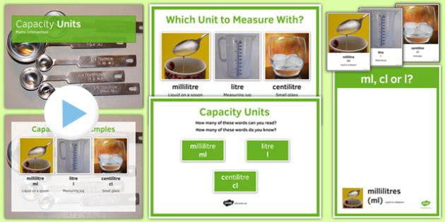 Maths Intervention Capacity Unit Pack - SEN, special needs, intervention, maths, measure, capacity