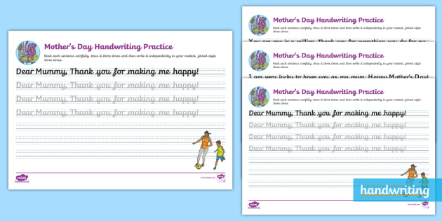 Mothers Day Continuous Cursive Worksheet