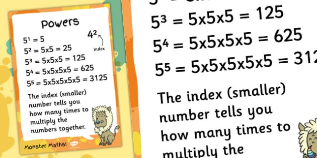 Powers Maths Display Poster - powers, maths, display, poster