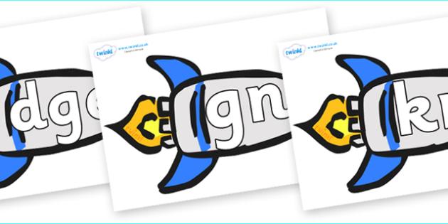 Silent Letters on Rockets (Plain) - Silent Letters, silent letter, letter blend, consonant, consonants, digraph, trigraph, A-Z letters, literacy, alphabet, letters, alternative sounds