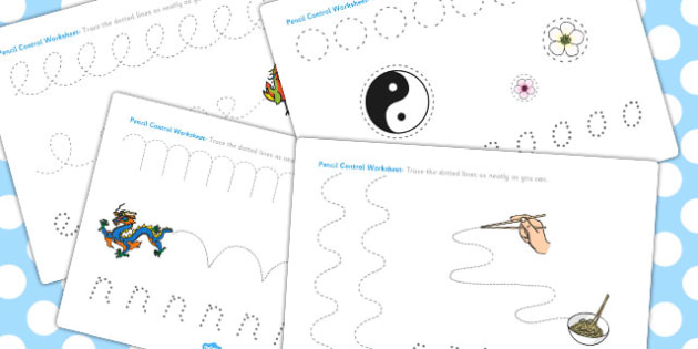 Chinese New Year Pencil Control Path Worksheets - Worksheet