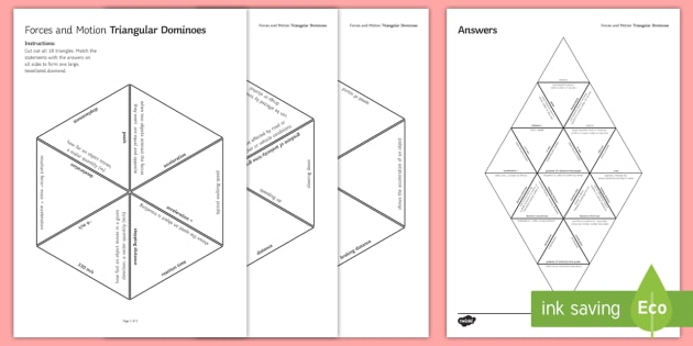 Forces and Motion Tarsia Dominoes  - Tarsia, gcse, physics, forces and motion, force, forces, motion, speed, velocity, distance, displace