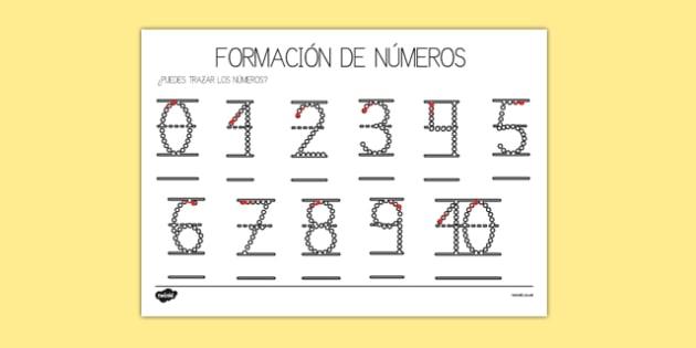 Ficha Formación de números 0 a 10 Spanish-Spanish