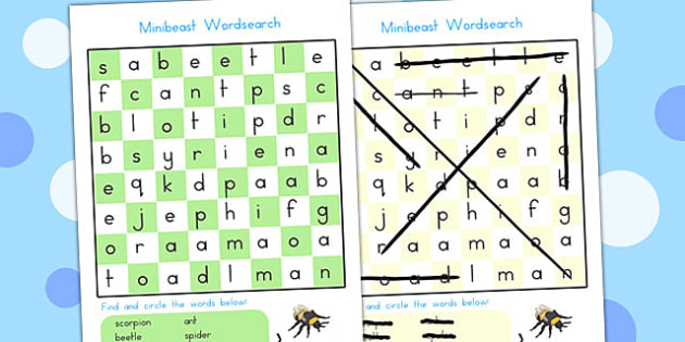 Minibeast Wordsearch - word search, game, word games, mini beasts